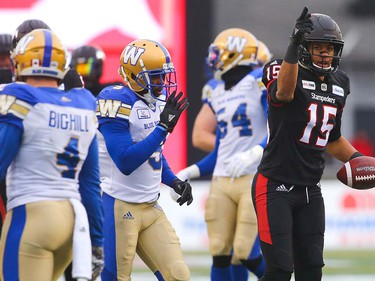 Calgary Stampeders Eric Rogers during the 2018 CFL Western Final against the Winnipeg Blue Bombers in Calgary on Sunday, November 18, 2018. Al Charest/Postmedia