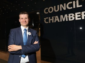 Ward 11 Coun. Jeromy Farkas poses for a photo after being ejected from council chambers on Monday, Dec. 17, 2018.