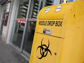 A needle drop box outside the Sheldon M. Chumir Health Centre was photographed on Tuesday December 11, 2018.  Gavin Young/Postmedia
