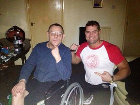 """Tom """"The Dynamite Kid"""" Billington, left, poses with Davey Boy Smith Jr. in an a recent photo Smith shared to his twitter account."""