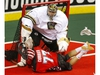 Calgary Roughnecks star Zach Currier collides with Vancouver Warriors goalie Aaron Bold during their game at the Scotiabank Saddledome in Calgary, on Saturday December 15, 2018. Leah Hennel/Postmedia ORG XMIT: POS1812152108552385