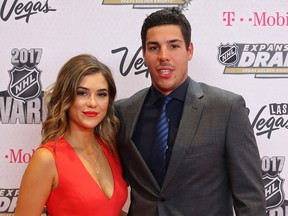 Travis and Stephanie Hamonic at the 2017 NHL Awards at T-Mobile Arena on June 21, 2017 in Las Vegas. Hamonic missed two games recently with the Calgary Flames after his eight-month-old daughter became seriously ill.