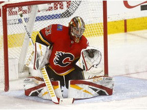 Calgary Flames goalie, David Rittich makes a save against the Carolina Hurricanes in second period action at the Scotiabank Saddledome in Calgary on Tuesday January 22, 2019. Darren Makowichuk/Postmedia