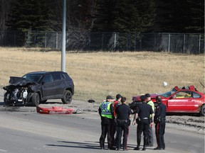 Calgary police investigate a fatal crash near the intersection of 52nd Street and Peigan Trail on Wednesday, April 17, 2019. Al Charest/Postmedia