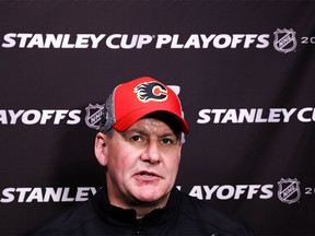 Calgary Flames head coach Bill Peters during practice getting ready for the 2019 Stanley Cup playoffs against the Colorado Avalanche at the Scotiabank Saddledome in Calgary on Wednesday, April 10, 2019. Al Charest/Postmedia