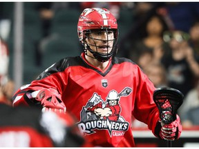 Calgary Roughnecks Reece Callies celebrates after scoring his first career NLL lacrosse goal during a game against the New England Blackwolves at the Scotiabank Saddledome in Calgary on Saturday, January 12, 2019. Al Charest/Postmedia
