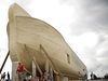 Attendees view the Noah's Ark replica during a VIP and media preview day at the Ark Encounter theme park in Williamstown, Kentucky, on July 5, 2016. (MUST CREDIT: Bloomberg photo by Luke Sharrett)