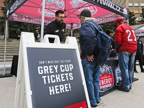 Fans had a chance to buy Grey Cup tickets before Ticketmaster offered them at the 2019 Grey Cup Kickoff Breakfast in Olympic Plaza on Tuesday May 7, 2019.