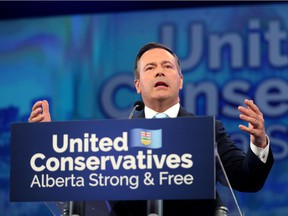 Alberta United Conservative leader Jason Kenney on election night at Big Four Roadhouse on the Stampede grounds in Calgary on Tuesday, April 16, 2019.