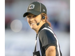 Emily Clarke was one of two female officials working the CFL exhibition game between the Calgary Stampeders and Saskatchewan Roughriders in Calgary on Friday, May 31, 2019 a historic first for the CFL.  Al Charest/Postmedia