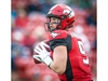 Calgary Stampeders quarterback Nick Arbuckle  looks to throw a pass against the Saskatchewan Roughriders during CFL pre-season football in Calgary on Friday, May 31, 2019. Al Charest/Postmedia