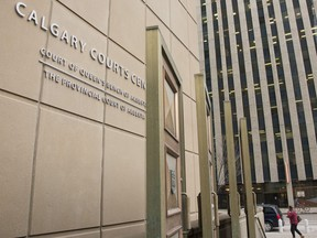 The Calgary Courts Centre in Calgary, Alta., Monday, March 11, 2019. A trial has been delayed for a man charged in the death of his four-year-old daughter in Calgary. A trial was to begin Monday for Oluwatosin Oluwafemi, but a defence lawyer requested an adjournment due to a colleague's medical emergency.