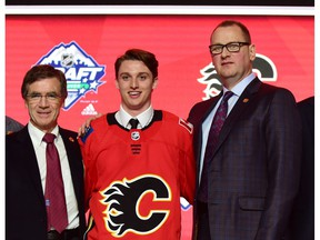 Jun 21, 2019; Vancouver, BC, Canada;  Jakob Pelletier poses for a photo after being selected as the number twenty-five overall pick to the Calgary Flames in the first round of the 2019 NHL Draft at Rogers Arena. Mandatory Credit: Anne-Marie Sorvin-USA TODAY Sports ORG XMIT: USATSI-403715