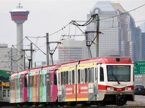 A CTrain heads towards downtown Calgary on the Blue Line in this file photo.