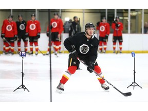 Carl-Johan Lerby skates during an on ice session at the Calgary Flames development camp at Winsport in Calgary on Thursday, July 4, 2019. Jim Wells/Postmedia