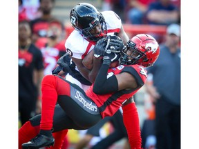 Calgary Stampeders Tre Roberson with his third interception of the game against the Ottawa Redblacks during CFL football in Calgary on Saturday, June 15, 2019. Al Charest/Postmedia