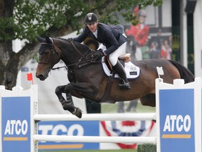 McLain Ward rides Noche de Ronda to victory in the  ATCO Connect 1.50m at Spruce Meadows on Friday, July 5, 2019.
