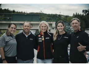 Left to right Canadian women's Olympic bobsled pilot Christine de Bruin, PGA Tour Champions golfer Olin Browne, Canadian women's Olympic bobsled pilots Alysia Rissling and Kori Hol Browne's caddie,, Sandy Armour.