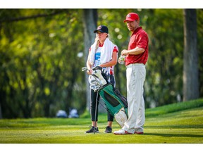 PGA golfer Steve Blake with his daughter, Brooklyn, who caddie for her father during Sunday's final round of the Shaw Charity Classic at Canyon Meadows Golf Club on Sunday, September 2, 2018. Al Charest/Postmedia