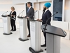 An empty podium is seen as Green Party Leader Elizabeth May, left, Conservative Leader Andrew Scheer, centre, and NDP Leader Jagmeet Singh get ready to take part during the Maclean's/Citytv National Leaders Debate in Toronto on Thursday, September 12, 2019. Liberal Leader Justin Trudeau turned down the invitation for the debate. THE CANADIAN PRESS/Frank Gunn ORG XMIT: NSD105