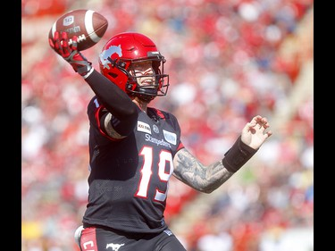 Calgary Stampeders, Bo Levi Mitchell against the Edminton Eskimos in first half action in the Labour Day classic at McMahon stadium in Calgary on Monday, September 2, 2019. Darren Makowichuk/Postmedia