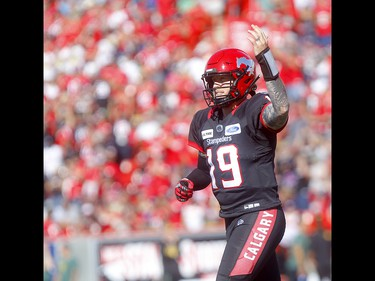 Calgary Stampeders, Bo Levi Mitchell after 2 point convert against the Edminton Eskimos in first half action in the Labour Day classic at McMahon stadium in Calgary on Monday, September 2, 2019. Darren Makowichuk/Postmedia