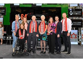 The Class of 2019 Inductees (L-R): Waneek Horn-Miller (Athlete, Water Polo), Colette Bourgonje (Athlete, Para Nordic Skiing and Wheelchair Racing), Jayna Hefford (Athlete, Ice Hockey), Doug Mitchell (Builder, Multisport), Guylaine Bernier (Builder, Rowing), ), Vicki Keith (Athlete, Swimming), Alexandre Bilodeau (Athlete, Freestyle Skiing, and Martin Brodeur (Athlete, Ice Hockey)