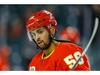 Calgary Flames Oliver Kylington during warm-up before facing the Detroit Red Wings during NHL hockey in Calgary on Thursday October 17, 2019. Al Charest / Postmedia