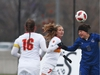 Sonya Hannigan of the University of Montreal Carabins heads the ball against #7 Maya Ida and #16 Claire Rockliff of the University of Calgary Dinos during action of the Canadian university women's soccer championships, November 09, 2018.     Photo by Jean Levac/Postmedia   130372