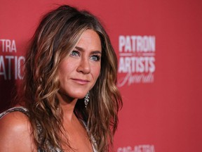 US actress Jennifer Aniston arrives for The SAG-AFTRA Foundations 4th Annual Patron of the Artists Awards at the Wallis Annenberg Center for the Performing Arts in Beverly Hills on November 7, 2019.