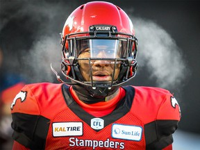 Calgary Stampeders Brandon Smith reacts after a Winnipeg Blue Bombers touchdown during the CFL West Division semifinal in Calgary on Sunday, November 10, 2019. Al Charest/Postmedia