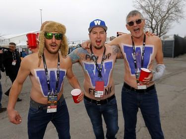 Thousands of fans ham it up during the Tailgate party at McMahon stadium during the 107th Grey Cup in Calgary on Sunday, November 24, 2019. Darren Makowichuk/Postmedia