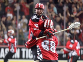 Rhys Duch celebrates his overtime goal as the Calgary Roughnecks defeat the Buffalo Bandits, winning the NLL Champion's Cup at the Saddledome on May 25, 2019.