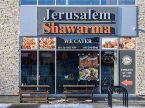 The Jerusalem Shawarma restaurant on 16th Avenue N.W., one of four chain locations linked to a norovirus outbreak.