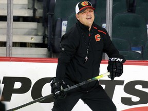 New Calgary Flames assistant coach Ray Edwards was photographed during practice on Saturday December 7, 2019.  Gavin Young/Postmedia