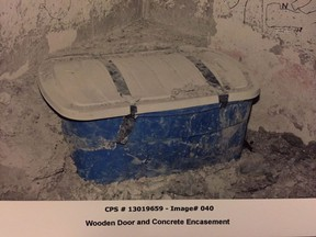 The container investigators allege was used to contain the body of Lisa Mitchell is seen in this undated police handout image which was entered into evidence in the trial of Allan Shyback, who was found guilty of killing Mitchell, 31, and hiding her body in the basement of their home.