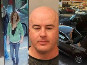 Trista Nadene Tinkler (L) and Robert Gordon Daignault (C) are believed to be in possession of a vehicle (R) belonging to a homicide victim whose body was found near Springbank Airport on Dec. 29. RCMP have issued a warrant for Tinkler and Daignault's arrests.