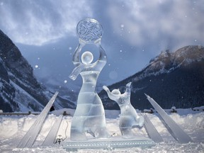 An ice sculpture from  the 2019 Ice Magic Festival at Lake Louise  called Sun Dance seems to be beckoning the gods. The beautiful statue was carved by Team Sakha from Russia. Photo by Pam Doyle/pamdoylephoto.com