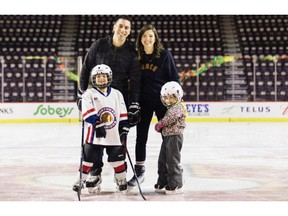 Calgary Flames assistant GM Chris Snow -- pictured here with his wife Kelsie and their children -- has been diagnosed with ALS, also known as Lou Gehrig's disease. Photo courtesy of the Calgary Flames.