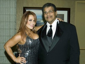 Nattie Neidhart with Soulman Rocky Johnson at the WWE Hall of Fame induction. (Supplied Photo)