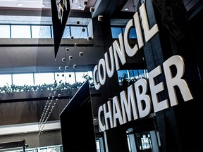 The sign outside Calgary City Council Chambers was photographed on Wednesday, February 12, 2020.