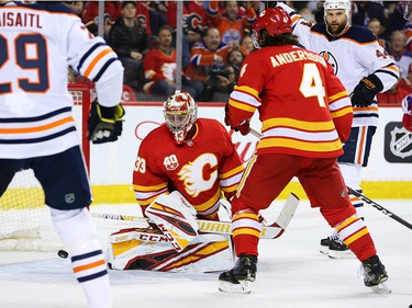 Calgary Flames goalie David Rittich watches this Edmonton Oilers shot get past him during NHL action in Calgary on Saturday, February 1, 2020.