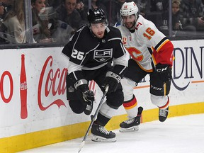 Calgary Flames centre Tobias Rieder in action at the Staples Center in Los Angeles on Wednesday night. West Coast road swings, like the one the Flames are on now, means some late nights or early mornings for his parents in Germany.