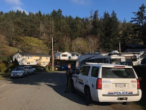 RCMP placed an exclusion zone around the premier's house on arriving at the scene and began arresting protesters still blocking the driveway by 8:30 a.m. PST.
