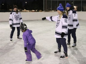 The Cougars from Mount Royal University came to offer free one-hour skating lessons in partnership with the Rutland Park Community Association.
