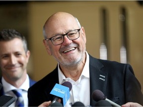 Ken King. Vice-Chairman CSEC speaks to media as council voted for a new arena in Calgary on Tuesday, July 30, 2019. Darren Makowichuk/Postmedia