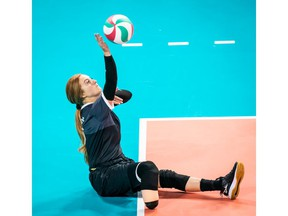 Payden Olsen of Cardston, Alta., in action with the national women's sitting volleyball team.