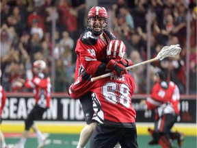 Calgary Roughnecks Rhys Duch scores the winning goal as they win the NLL Champion's Cup, winning the National Lacrosse League title by beating the Buffalo Bandits at the Scotiabank Saddledome in Calgary on Saturday, May 25, 2019. Darren Makowichuk/Postmedia