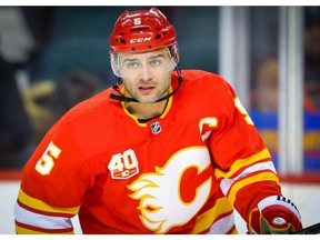 Calgary Flames Mark Giordano during warm-up before facing the Chicago Blackhawks during NHL hockey in Calgary on Tuesday December 31, 2019. Al Charest / Postmedia