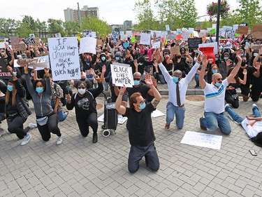 Several thousand Calgarians participated in an anti-racist rally in downtown Calgary on Monday, June 1, 2020. The protesters were also lying down the way George Floyd, 46 was when he was killed by a police officer in Minneapolis, Minnesota. That Minneapolis officer has since been charged with murder. Gavin Young/Postmedia